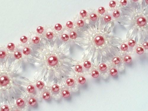 Náramek růžovo-krystalový