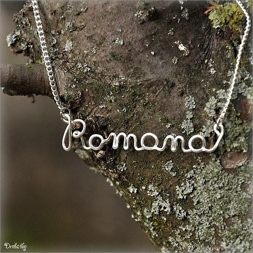"""Náhrdelník s menom / řetízek se jménem \""""Romana\"""""""