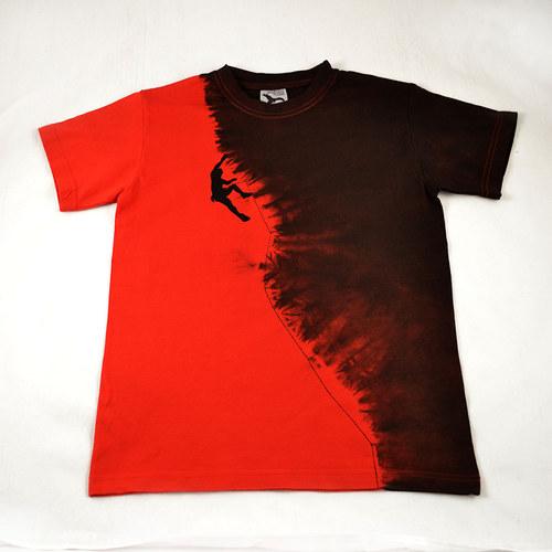 Červeno-černé triko s horolezcem XS