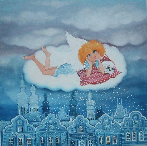Andělíček válející se na obláčku