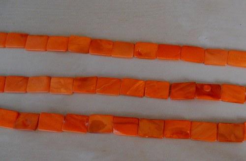 Perleťové obdélníky velké  oranžové - 4 ks