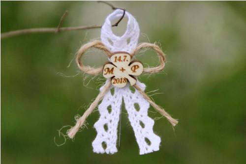 Svatební mašlička RUSTIKÁLNÍ - s iniciály na přání