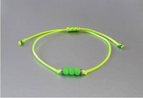 Náramek / Shamballa / Neon žluto-zelený /