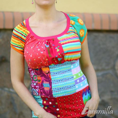 Patchworkové pestrobarevné triko M/L IHNED
