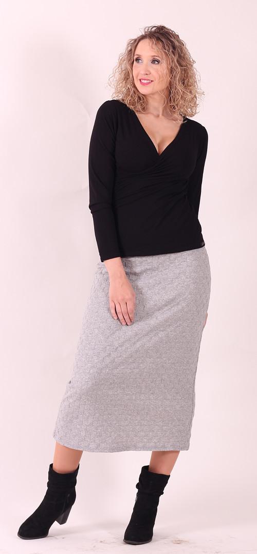 Šedá dlouhá sukně s plastickým vzorem
