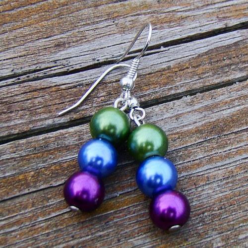 náušnice k   náhrdelníku v barvách pavích per