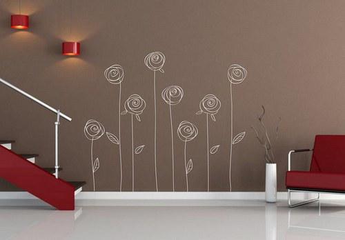 Růže 8ks od 30 do 80cm dekorace na zeď 084n