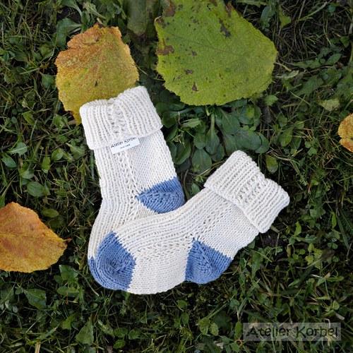 Smetanovomodré ponožtičky, bavlna, vel.11 cm