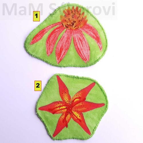 Nažehlovací záplaty květy na zelené jen č.2!