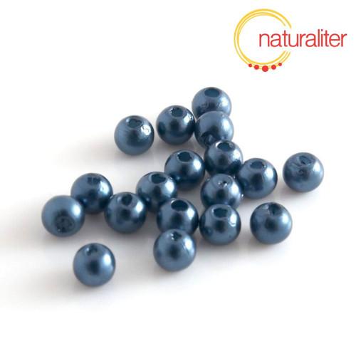 Voskované perly, tmavě modré, 4mm, 100ks