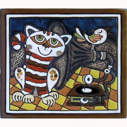 Keramický obrázek - Kočka a gramofon K-126-M-ZL
