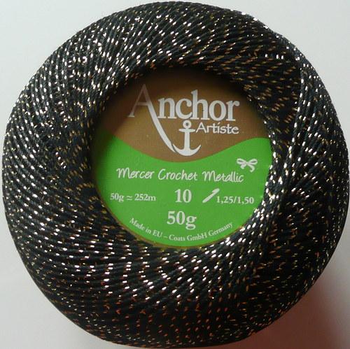 Anchor Crochet Metallic - černo-zlatá