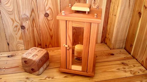 Dřevěná lucerna velká broušená