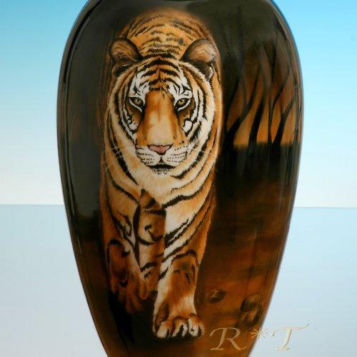 """Ručně malovaná porcelánová váza \""""Tygr\"""""""
