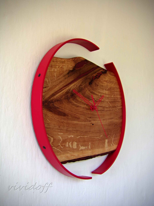 hodiny nástenné dubovo-kovové6