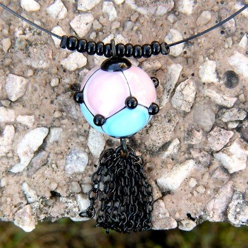 Náhrdelník -  GOTHIC - modro růžový