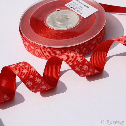 Stuha rypsová - šíře 18 mm - červené květy