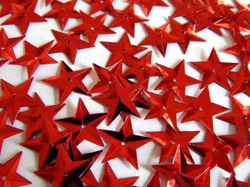 Flitry s dírkou, hvězda, našívací, červená