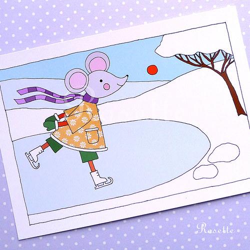 V únoru Maruška bruslí  -  pohlednice