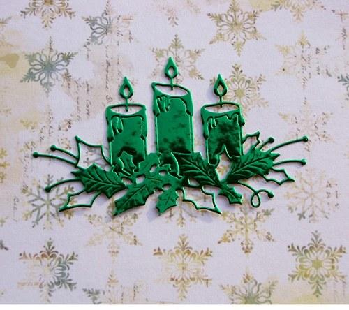 Tři svíčky s cesmínou (metalické)