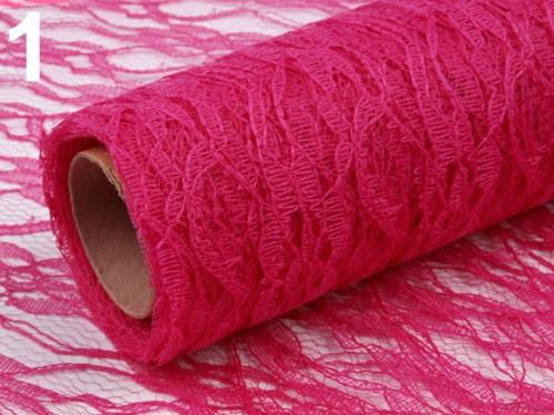 Krajka dekorační šíře 48-50 cm - růžová tm. (1m)