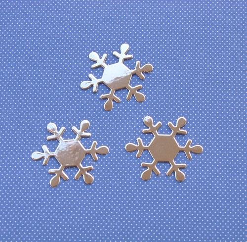 Vločky bílé (šestiúhelník) stříbrné - 3 ks