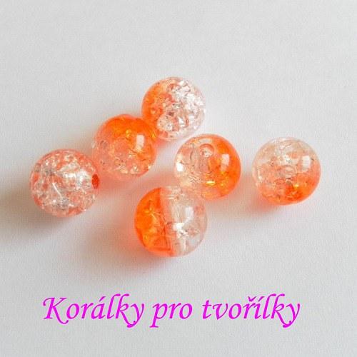 Práskané korálky čirooranžové 6ks/8,- Kč