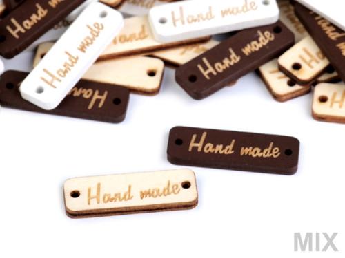 "Dřevěná cedulka \""Hand made\"" 10x30mm (10ks) - mix"