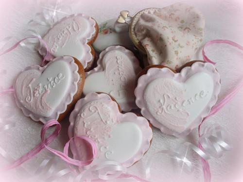 Svatební srdíčka bílo-růžová