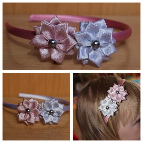 Čelenka plastová - 2 květy stříbrný a růžový
