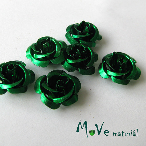Korálek růžička 15mm, 6ks zelená