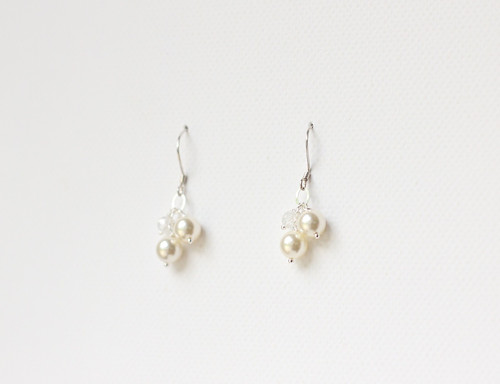 Svatební náušnice s perlemi a zirkóny