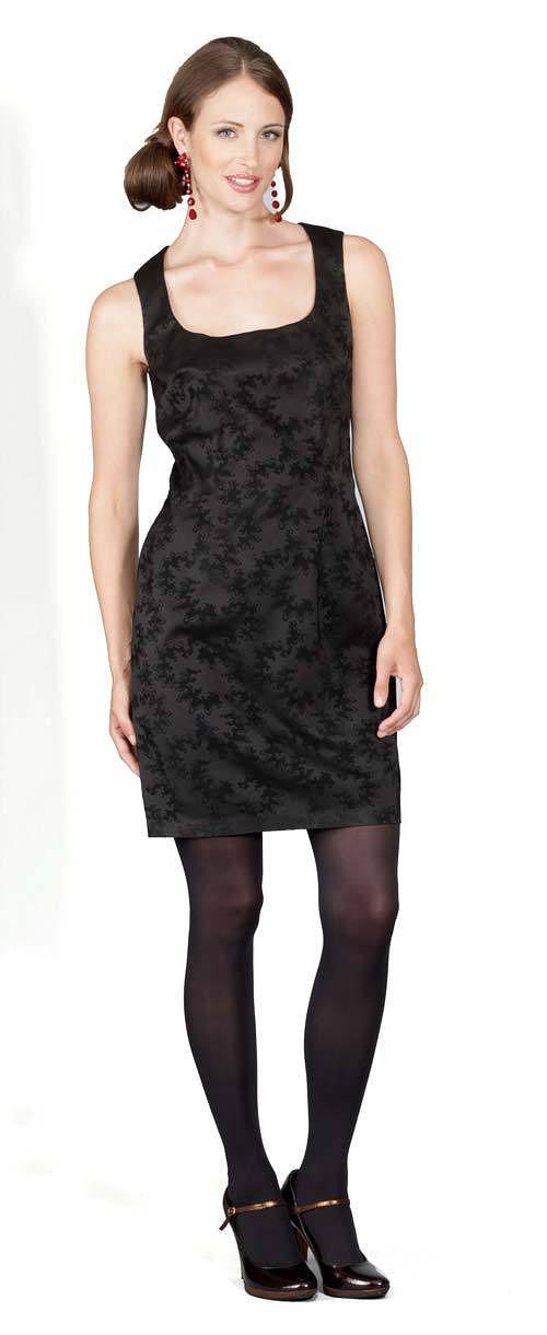 Šaty Harpa - černá s černým vzorem 0364
