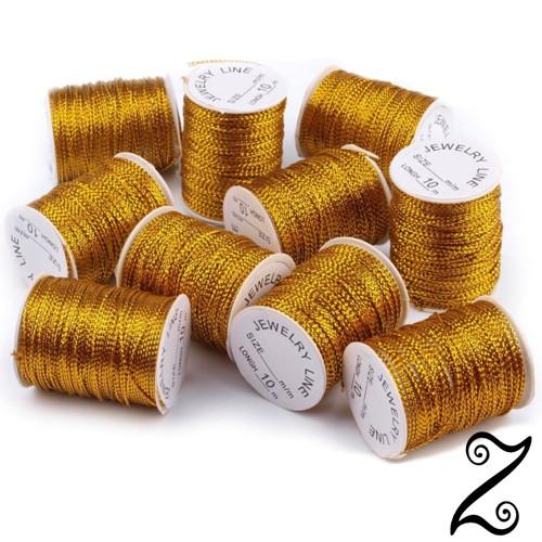 Šňůra s lurexem, zlatá, Ø 1mm (8-10m)