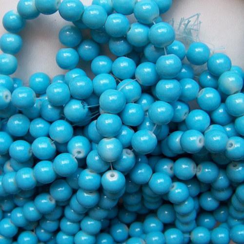 skleněné korálky LESK/ modrá / 6mm/20ks