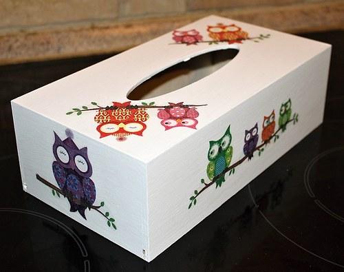 Sova k sově sedá - krabička na kapesníky model 3
