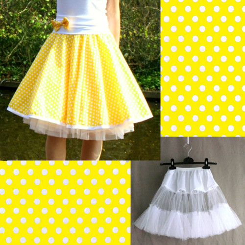 Žlutá puntíkovaná sukně+jednoduchá bílá spodnička