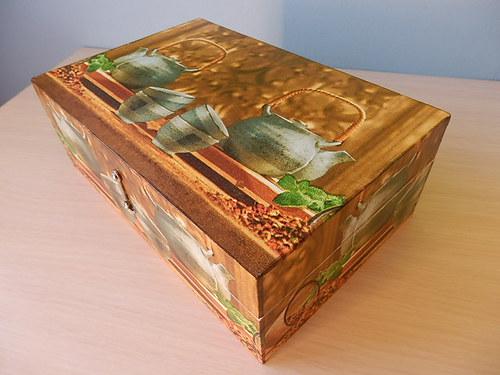 Krabice na čaj - 8 komor - Čajová konvice