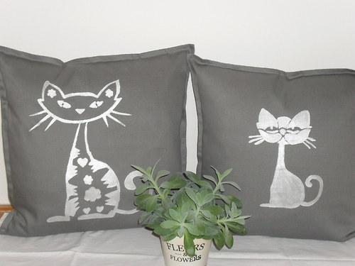 Šedý povlak na polštář -kočka vlevo- 50*50cm!!