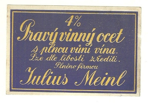Etiketa pravý vinný ocet Julius Meinl