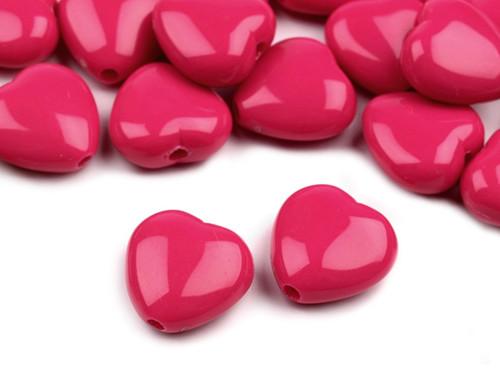 Plastové korálky 13x13mm srdce / růžové (10 ks)
