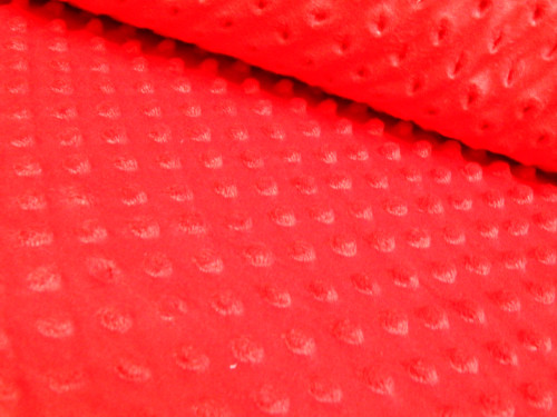 Látka MINKY, jednobarevná, červená