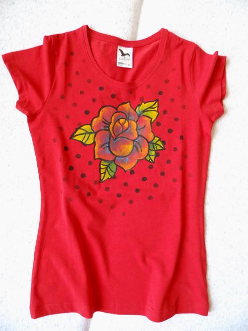 Tričko s pop art růží