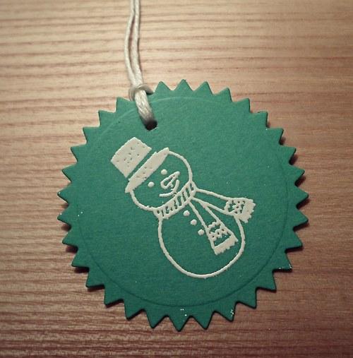 Visačky na dárky SNĚHULÁK - 10ks