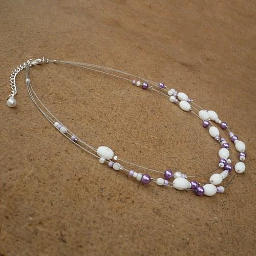Bílofialový dětský náhrdelník