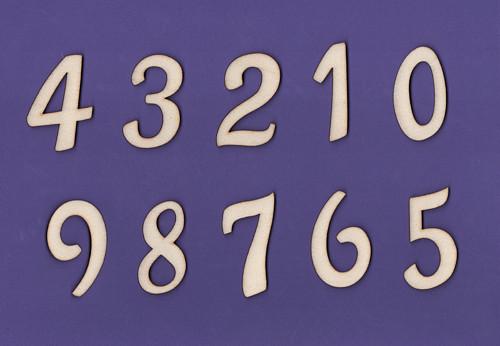 Dřevěný výřez, číslice 0 až 9, 5,2 cm