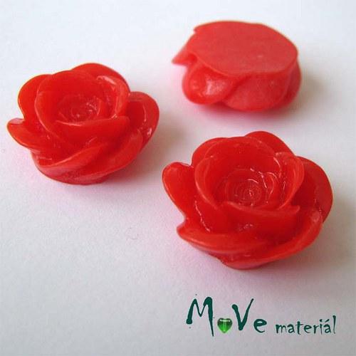 Kabošon květ lesklý A1- resin - 2ks, červená