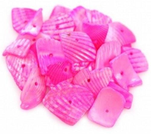 Korálky mušle 500g - řezané plátky, tmavě růžová