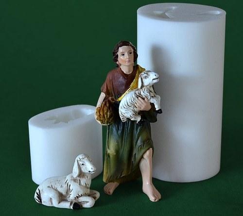 Formy na svíčky Pastýř s ovečkou výška 10,5cm