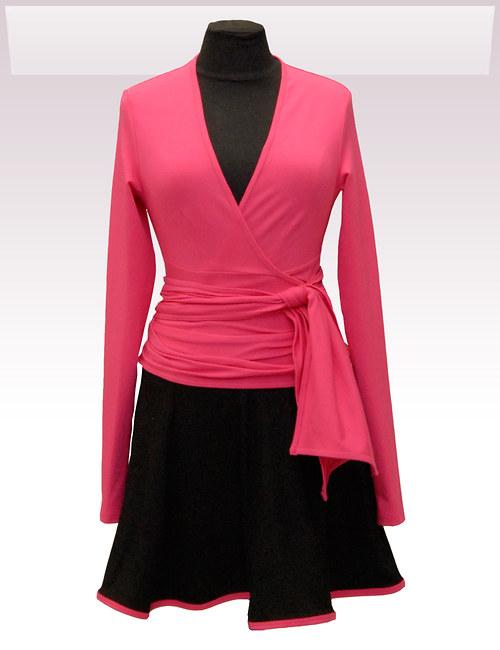Růžový zavinovací kabátek belaroma s dl. rukávem